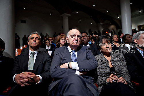 "Rahm Emanuel, the White House chief of staff, left, Paul Volcker, chairman of President Obama's Economic Recovery Advisory Board, center, and Penny Pritzker, chairman of Pritzker Realty Group, listen during a speech by Obama about financial reform at Cooper Union in New York, U.S., on Thursday, April 22, 2010. Obama called on the financial industry to drop its ""furious efforts"" to fight his regulation plan, saying a failure to impose tougher rules on the market will put the U.S. economic system at risk. .Credit: Daniel Acker - Pool via CNP"