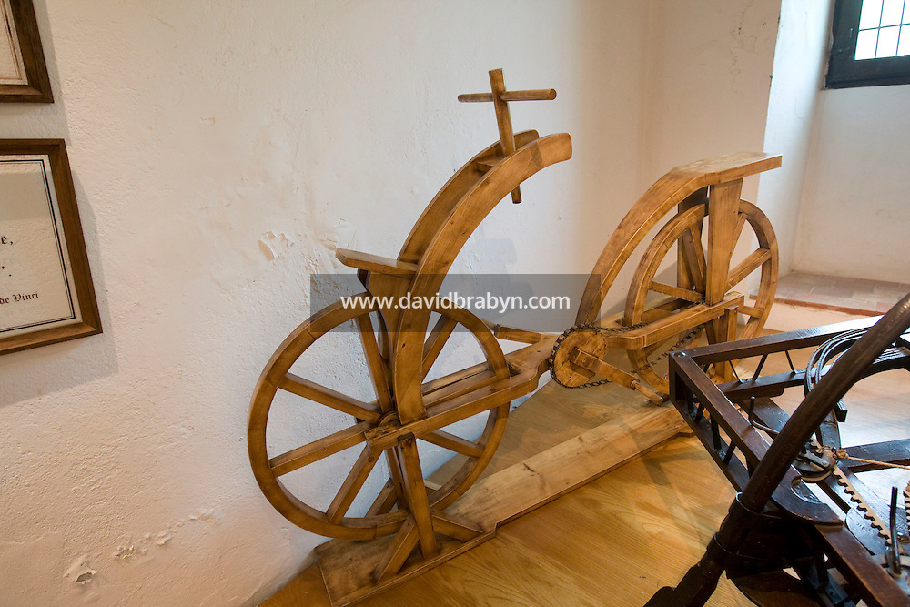 View of a wooden bicycle designed by Leonardo da Vinci on display at the Clos Luce mansion, the inventor's last home, in Amboise, France, 26 June 2008.