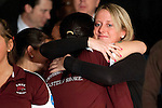 14 APR 2012: University of Maryland Eastern Shore head coach Kristina Frahm (right) gets a hug from a teammate after they defeated  Fairleigh Dickinson University during the Division I WomenÄôs Bowling Championship held at Freeway Lanes in Wickliffe, OH.  The University of Maryland Eastern Shore defeated Fairleigh Dickinson 4-2 to win the national title.  Jason Miller/NCAA Photos