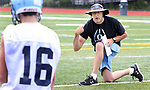 OXFORD CT. 14 August 2017-081417SV01-Oxford High coach Joe Stochmal works with quarterbacks during a practice at the school in Oxford Monday.<br /> Steven Valenti Republican-American