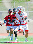 Palos Verdes, CA 03/26/16 - Liam Nelson (San Clemente #27) and Jack Quinn (Palos Verdes #23) in action during the CIF Boys Lacrosse game between San Clemente Tritons and the Palos Verdes Seakings at Palos Verdes High School.  Palos Verdes defeated San Clemente 11-6