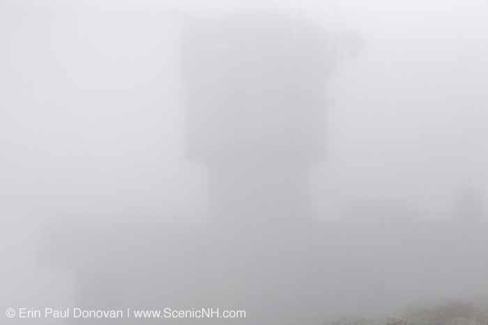 Appalachian Trail - The summit of Mount Washington in the White Mountains, New Hampshire USA engulfed by fog during the summer months.