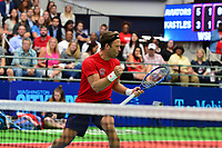Washington, DC - July 25, 2018:  Robert Lindstedt of the Washington Kastles celebrates during his Mixed Doubles match against Anna-Lena Groenefeld and Marcin Matkowski of the San Diego Aviators July 25, 2018.  (Photo by Don Baxter/Media Images International)
