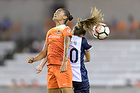 Houston, TX - Saturday July 15, 2017: Poliana Barbosa Medeiros and Estefanía Banini during a regular season National Women's Soccer League (NWSL) match between the Houston Dash and the Washington Spirit at BBVA Compass Stadium.