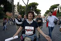 Roma, 2 Ottobre 2015<br /> Manifestazione di lavoratrici e lavoratori del settore pubblico del Comune di Roma contro la privatizzazione delle aziende municipalizzate.<br /> Corteo dal Colosseo al Campidoglio.<br /> Lavoratrice comunale