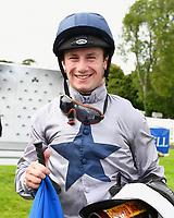 Jockey Oisin Murphy is all smiles after winning The Irish Yearling Sales Nursery  onboard Headland on his Birthday during the Bathwick Tyres & EBF Race Day at Salisbury Racecourse on 6th September 2018