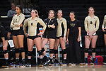 The Wake Forest Demon Deacons bench watches the action during the match against the USC Upstate Spartans in the LJVM Coliseum on September 9, 2017 in Winston-Salem, North Carolina.  The Demon Deacons defeated the Spartans 3-2.   (Brian Westerholt/Sports On Film)