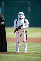 A Star Wars Stormtrooper stands alongside Darth Vader before a California League game between the Lancaster JetHawks and San Jose Giants at San Jose Municipal Stadium on May 12, 2018 in San Jose, California. Lancaster defeated San Jose 7-6. (Zachary Lucy/Four Seam Images)