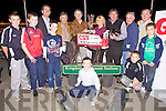 Speak Out Shea's owner Miriam Deneen from Charleville receives the trophy following his victory in the Gain Dog Food Final at The Tralee Greyhound Track on Saturday night. Front l/r Eoin Hurly, Gerald Griffin, Thommas Griffin, Brian Hurly and Seamus Hurly, back l/r Declan Dowling ( Racing Manager) Con Guiney, John Fox (Gain Dog Foods), Miriam Deneen, Eamonn Finn, Joe Vaughan and Tom Griffin............................................................................................................................................................................................................................................................................................... ............