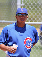 Yaniel Cabezas of the Chicago Cubs participates in extended spring training workouts at the Cubs minor league complex on April 22, 2011  in Mesa, Arizona. .Photo by:  Bill Mitchell/Four Seam Images.