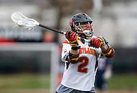 Travis Reed (2) of Maryland passes the ball while playing Penn at Ludwig Field in College Park, Maryland.