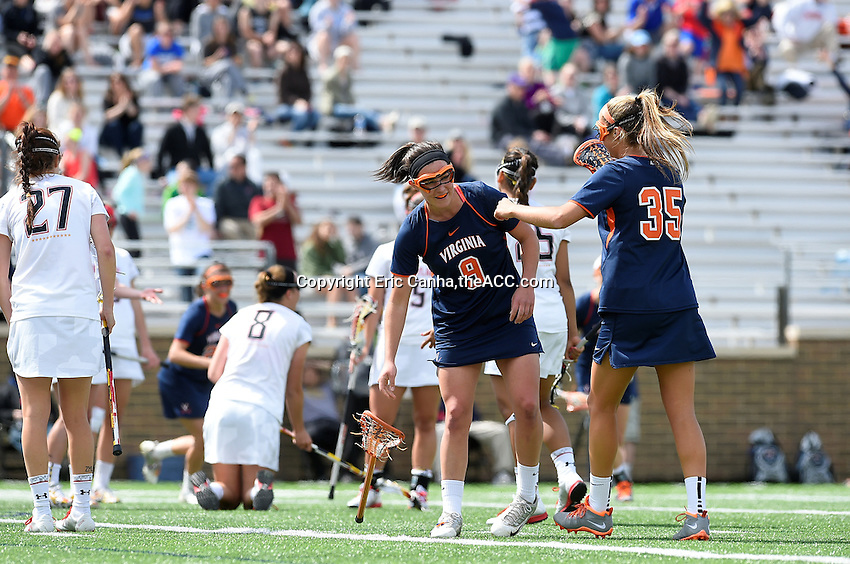 Virginia and Maryland face off during the 2014 ACC Women's Lacrosse Semifinals in Boston, MA, Friday, April 25, 2014. (Photo by Eric Canha,<br /> theACC.com)