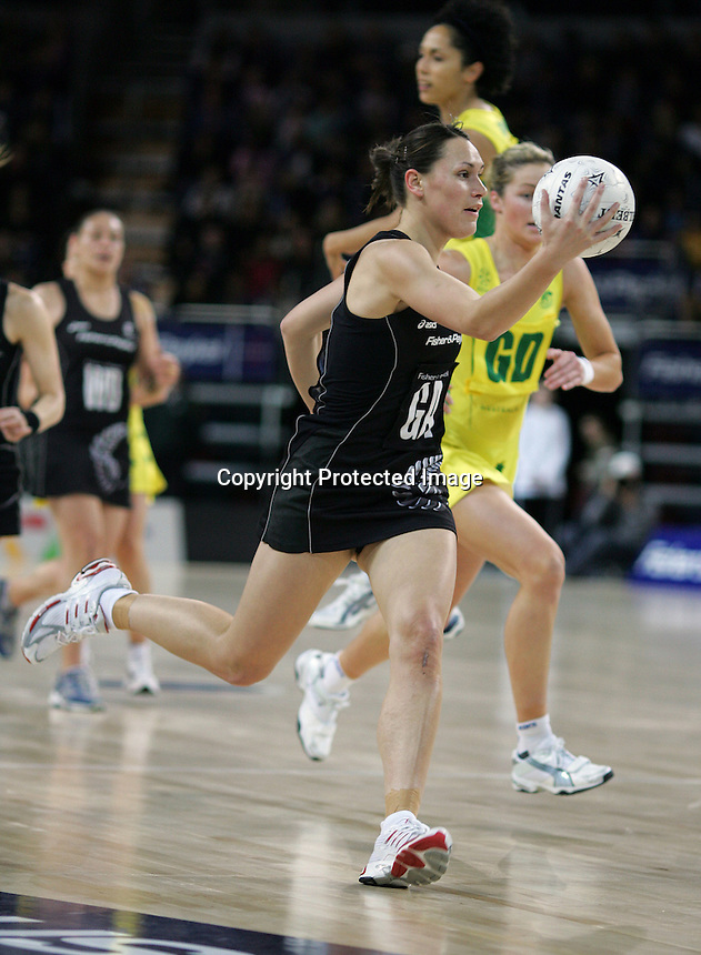 18.07.2007 Silver Ferns Jodi Te Huna in action during the Silver Ferns v Australia Fisher and Paykel Netball Test Match at Vector Arena, Auckland. Mandatory Photo Credit ©Michael Bradley.
