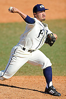 28 February 2010:  FIU's Bryam Garcia (4) pitches in the ninth inning as the FIU Golden Panthers defeated the Oral Roberts Golden Eagles, 7-6 (10 innings), at University Park Stadium in Miami, Florida.