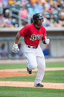 Marcus Lemon (2) of the Birmingham Barons hustles down the first base line against the Tennessee Smokies at Regions Field on May 4, 2015 in Birmingham, Alabama.  The Barons defeated the Smokies 4-3 in 13 innings. (Brian Westerholt/Four Seam Images)
