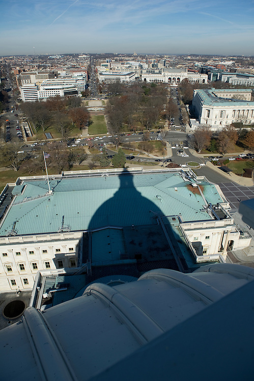 UNITED STATES - Dec 19: A view North from the top of the US Capitol dome during a tour of the dome December 19, 2013 in Washington, DC. The Dome has not undergone a complete restoration since 1959-1960 and due to age and weather is now plagued by more than 1,000 cracks and deficiencies. The Architect of the Capitol began in November, a multi-year project to repair these deficiencies, restoring the Dome to its original, inspiring splendor.  (Photo By Douglas Graham/CQ Roll Call)