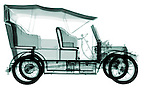 X-ray image of an antique car (green on white) by Jim Wehtje, specialist in x-ray art and design images.