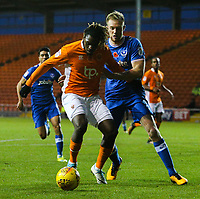 Blackpool's Dolly Menga battles with Portsmouth's Matthew Clarke<br /> <br /> Photographer Alex Dodd/CameraSport<br /> <br /> The EFL Sky Bet League One - Blackpool v Portsmouth - Saturday 11th November 2017 - Bloomfield Road - Blackpool<br /> <br /> World Copyright &copy; 2017 CameraSport. All rights reserved. 43 Linden Ave. Countesthorpe. Leicester. England. LE8 5PG - Tel: +44 (0) 116 277 4147 - admin@camerasport.com - www.camerasport.com