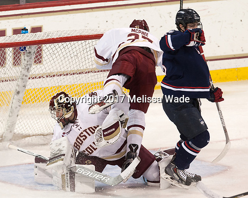 Joe Woll (BC - 31), Graham McPhee (BC - 27), Spencer Naas (UConn - 8) - The Boston College Eagles defeated the visiting UConn Huskies 2-1 on Tuesday, January 24, 2017, at Kelley Rink in Conte Forum in Chestnut Hill, Massachusetts.