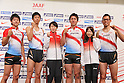 (L to R) Masashi Eriguchi, Kei Takase, Chisato Fukushima, Genki Dean, Mika Yoshikawa, Yuzo Kanemaru, .JUNE 11, 2012 - Athletics : Athletics Japan National Team Press Conference for The London Olympics 2012 .at Hotel Nikko Osaka in Osaka, Japan. (Photo by Akihiro Sugimoto/AFLO SPORT) [1080]