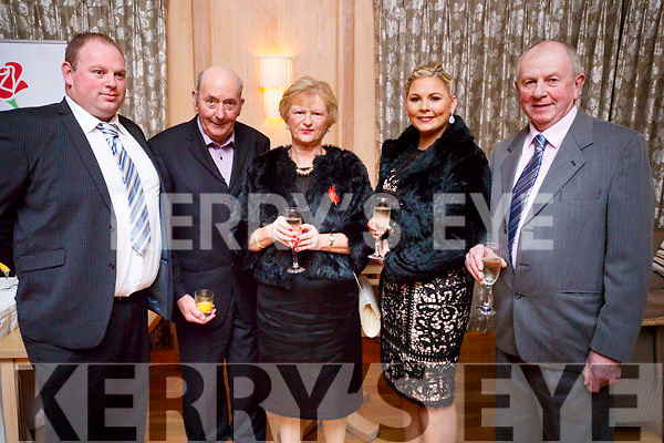 Pictured at the Lee Strand Social, at Ballygarry House Hotel & Spa, Tralee, on Saturday night last were l-r: David Savage, Tom Leen, Mary Savage, Lorraine Kennedy and Gary Savage, all from Curraheen, Tralee.