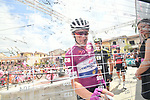 Elia Viviani (ITA) Quick-Step Floors wearing the the Maglia Ciclamino at sign on before the start of Stage 9 of the 2018 Giro d'Italia, running 225km from Pesco Sannita to Gran Sasso d'Italia (Campo Imperatore), this year's Montagna Pantani, Italy. 13th May 2018.<br /> Picture: LaPresse/Massimo Paolone | Cyclefile<br /> <br /> <br /> All photos usage must carry mandatory copyright credit (&copy; Cyclefile | LaPresse/Massimo Paolone)
