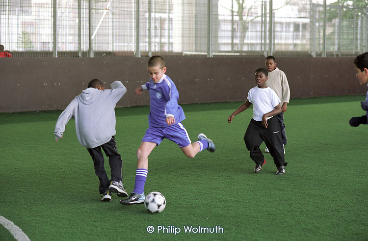 Primary school football tournament at the Westway Sports Centre, West London.