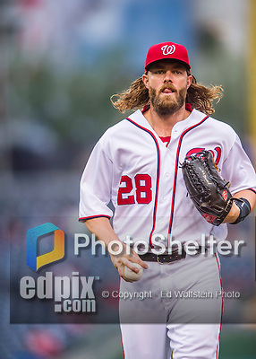 28 April 2016: Washington Nationals outfielder Jayson Werth returns to the dugout during a game against the Philadelphia Phillies at Nationals Park in Washington, DC. The Phillies shut out the Nationals 3-0 to sweep their mid-week, 3-game series. Mandatory Credit: Ed Wolfstein Photo *** RAW (NEF) Image File Available ***