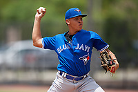 GCL Blue Jays starting pitcher Alejandro Melean (18) delivers a pitch during a game against the GCL Phillies East on August 10, 2018 at Carpenter Complex in Clearwater, Florida.  GCL Blue Jays defeated GCL Phillies East 8-3.  (Mike Janes/Four Seam Images)