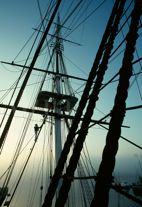 USS Constitution rigging with sailor at dawn Charlestown MA