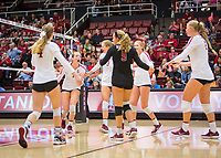 STANFORD, CA - October 12, 2018: Meghan McClure, Jenna Gray, Holly Campbell, Morgan Hentz, Jenna Gray, Kathryn Plummer at Maples Pavilion. No. 2 Stanford Cardinal swept No. 21 Washington State Cougars, 25-15, 30-28, 25-12.