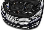 Car stock 2015 Hyundai Grand Santa Fe Executive 5 Door SUV engine high angle detail view
