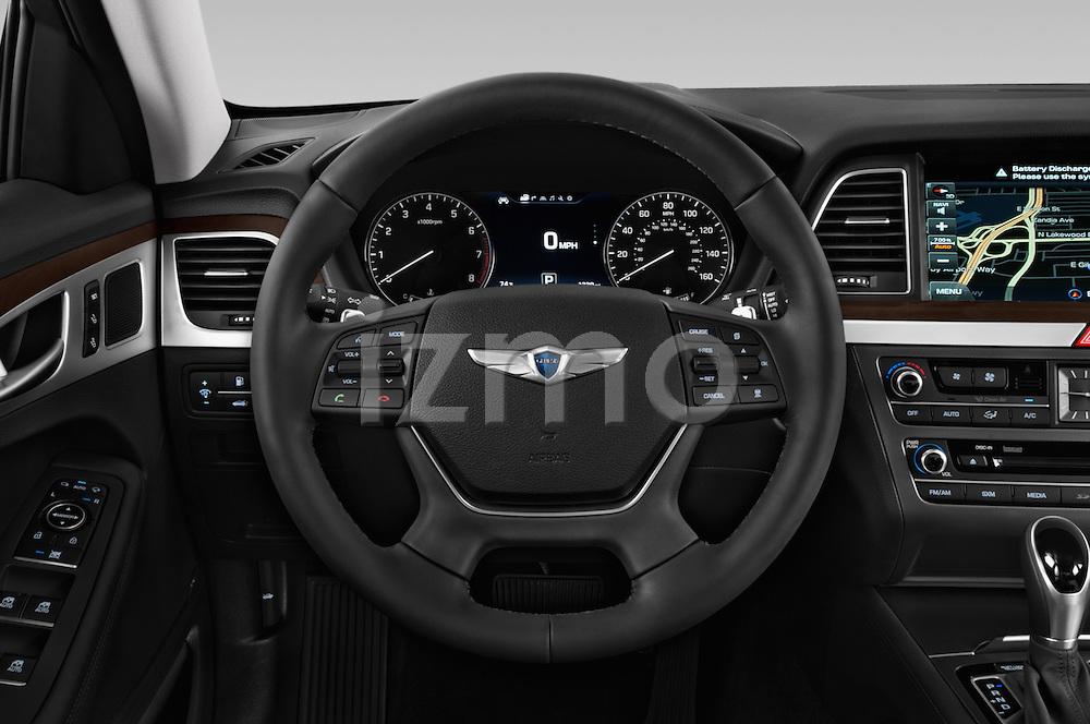 Car pictures of steering wheel view of a 2017 Genesis G80 4 Door Sedan Steering Wheel