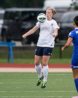 Sky Blue FC defender CoCo Goodson (2) controls a high ball.  In a National Women's Soccer League Elite (NWSL) match, Sky Blue FC defeated the Boston Breakers, 3-2, at Dilboy Stadium on June 16, 2013