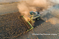 63801-13316 Harvesting soybeans at sunset in fall-aerial  Marion Co. IL