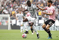 Calcio, Serie A: Juventus vs Palermo. Torino, Juventus Stadium, 17 aprile 2016.<br /> Juventus&rsquo; Paul Pogba, left, is challenged by Palermo&rsquo;s Andrea Rispoli during the Italian Serie A football match between Juventus and Palermo at Turin's Juventus Stadium, 17 April 2016.<br /> UPDATE IMAGES PRESS/Isabella Bonotto