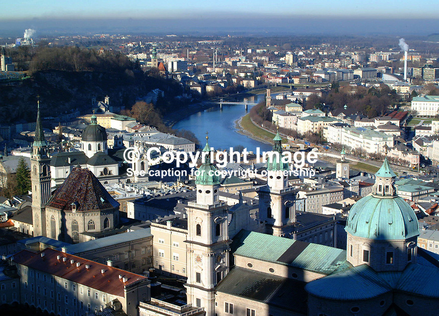 View of Salzburg, Austria, from the Hohensalzburg Fortress (castle). .Ref: 2000121095. ..Copyright Image from Victor Patterson, 54 Dorchester Park, Belfast, UK, BT9 6RJ..Tel: +44 28 9066 1296.Mob: +44 7802 353836.Voicemail +44 20 8816 7153.Skype: victorpattersonbelfast.Email: victorpatterson@mac.com.Email: victorpatterson@ireland.com (back-up)..IMPORTANT: If you wish to use this image or any other of my images please go to www.victorpatterson.com and click on the Terms & Conditions. Then contact me by email or phone with the reference number(s) of the image(s) concerned.