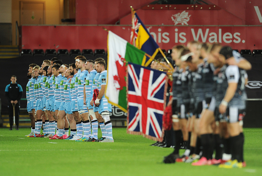 Glasgow Warriors players observe a minutes silence<br /> <br /> Photographer Kevin Barnes/CameraSport<br /> <br /> Guinness Pro14 Round 8 - Ospreys v Glasgow Warriors - Friday 2nd November 2018 - Liberty Stadium - Swansea<br /> <br /> World Copyright © 2018 CameraSport. All rights reserved. 43 Linden Ave. Countesthorpe. Leicester. England. LE8 5PG - Tel: +44 (0) 116 277 4147 - admin@camerasport.com - www.camerasport.com