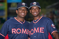 Oriel Caicedo (left) and Yeudi Grullon (right) pose for a photo prior to the game against the Hickory Crawdads at L.P. Frans Stadium on May 12, 2016 in Hickory, North Carolina.  The Braves defeated the Crawdads 3-0.  (Brian Westerholt/Four Seam Images)