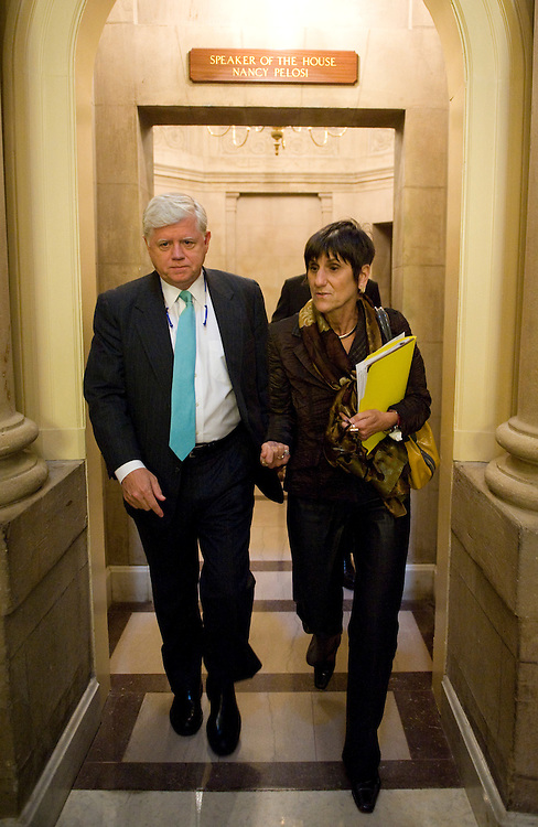 Rep. John Larson, D-Conn., and Rep. Rosa DeLauro, D-Conn., leave Speaker Pelosi's office before the vote on the financial crisis bailout on Monday, Sept. 29, 2008.