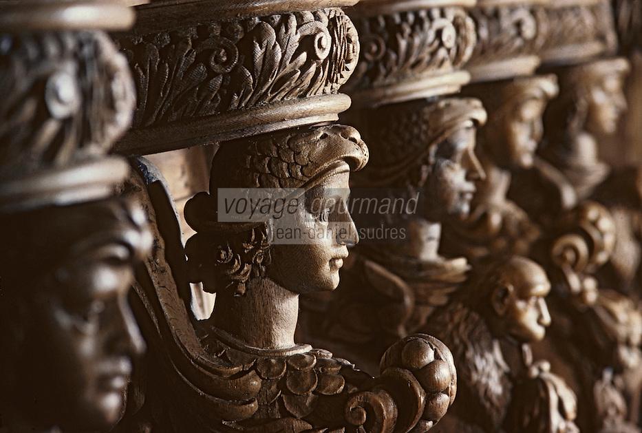 Europe/France/Limousin/23/Creuse/Moutier-d'Ahun: Eglise - Boiseries 1673-1681 - Accoudoirs