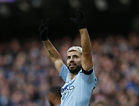 Sergio Aguero of Manchester City celebrates scores the third goal during the Premier League match at the Etihad Stadium, Manchester. Picture date: 10th February 2019. Picture credit should read: Andrew Yates/Sportimage/Imago/Insidefoto PUBLICATIONxNOTxINxUK _AY29001.JPG<br /> ITALY ONLY