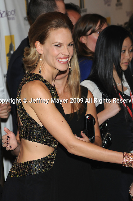 BEVERLY HILLS, CA. - October 26: Hilary Swank arrives at the 13th annual Hollywood Awards Gala Ceremony held at The Beverly Hilton Hotel on October 26, 2009 in Beverly Hills, California.