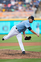 Durham Bulls relief pitcher Ryne Stanek (24) in action against the Buffalo Bisons at Durham Bulls Athletic Park on April 30, 2017 in Durham, North Carolina.  The Bisons defeated the Bulls 6-1.  (Brian Westerholt/Four Seam Images)