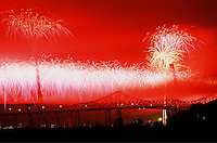 Photo of the fireworks during the opening of the Ravenel Bridge in Charleston, South Carolina.
