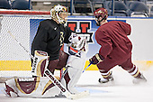 Cory Schneider, Chris Collins - The Boston College Eagles took their morning skate on Saturday, April 8, 2006, at the Bradley Center in Milwaukee, Wisconsin to prepare for the 2006 Frozen Four Final game versus the University of Wisconsin.