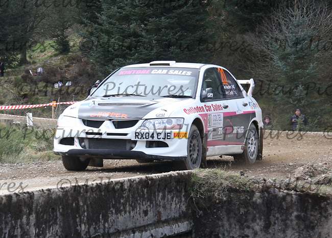 Allan Smith / Ian MacIvor in a Mitsubishi Evolution 8 at Junction 3 on John Lawrie Group Special Stage 5 Fettersso 2 of the Coltel Granite City Rally 2012 which was based at the Thainstone Agricultural Centre, Inverurie.