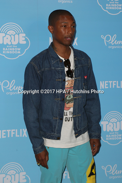 LOS ANGELES - AUG 10:  Pharrell Williams at the True and the Rainbow Kingdom Series LA Premiere at the Pacific Theater At The Grove on August 10, 2017 in Los Angeles, CA