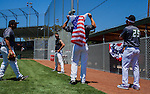 The Pacific Association of Professional Baseball Club's Pittsburg Mettle played against the Sonoma Stompers on July 4, 2014 at City Park Field in Pittsburg, California.  Prior to the game the fans and players participated in a watermelon eating contest.  Photo/Victoria Sheridan