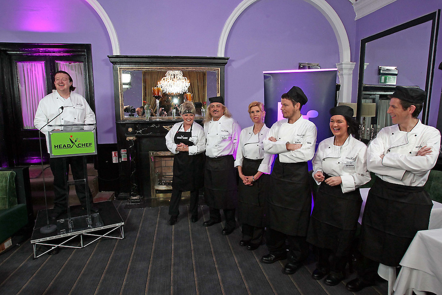 21/06/'11 The six contestants in Celebrity Head Chef from left, Adele King, Wagner, Mary Burke, Kohlin Harris, Geraldine O' Callaghan and Michael Hayes in Chef Conrad Gallagher of TV3's Celebrity Head Chef series pictured in his  'Dining Room' Restaurant...NO REPRODUCTION FEE PIC...Picture Colin Keegan, Collins, Dublin.